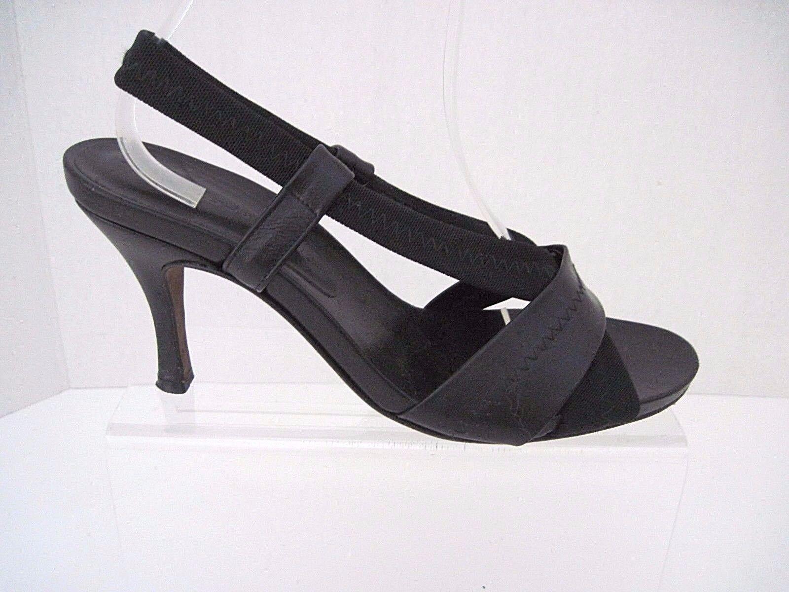 DONALD J PLINER PLINER J Black Leather & Elastic Slingback Sandals Heels Size 7 1/2 M 06295a