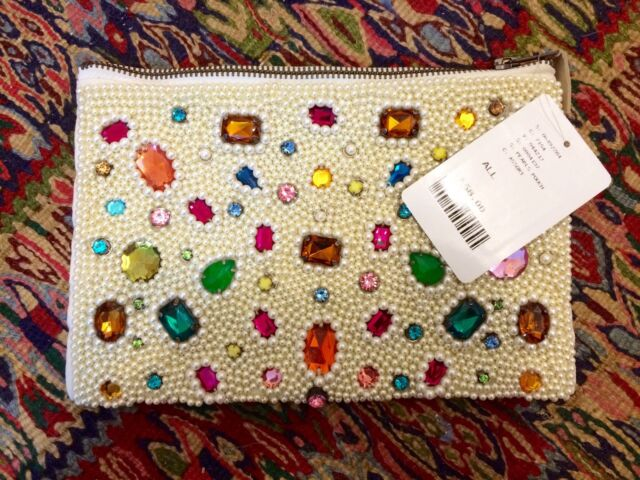 BNWT RARE ANTHROPOLOGIE Beaded Pearl Multi Coloured Jewel CLUTCH PURSE BAG £58