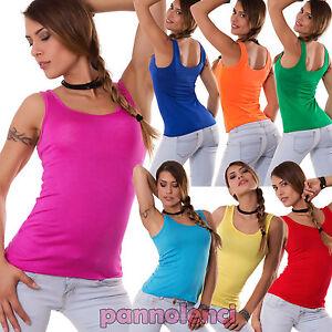 Canotta-canottiera-maglia-donna-jersey-top-sottogiacca-maglietta-AS-0299