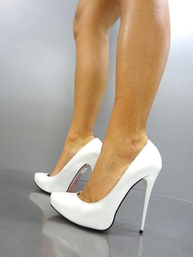 Bianco Heels Schuhe Italy Leather Shoes 38 Pumps Real Mori Platform High White pqvwwZR
