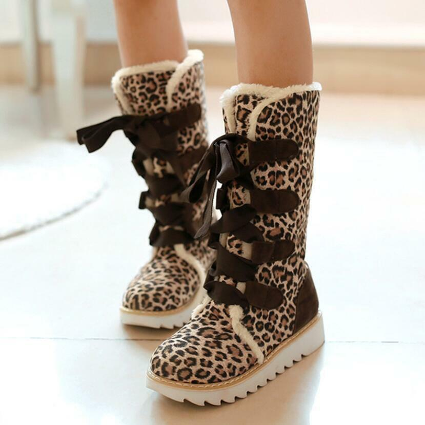 Chic Womens Thicken Velvet High Snow Boots Girls Solid Suede Winter Shoes Hai12