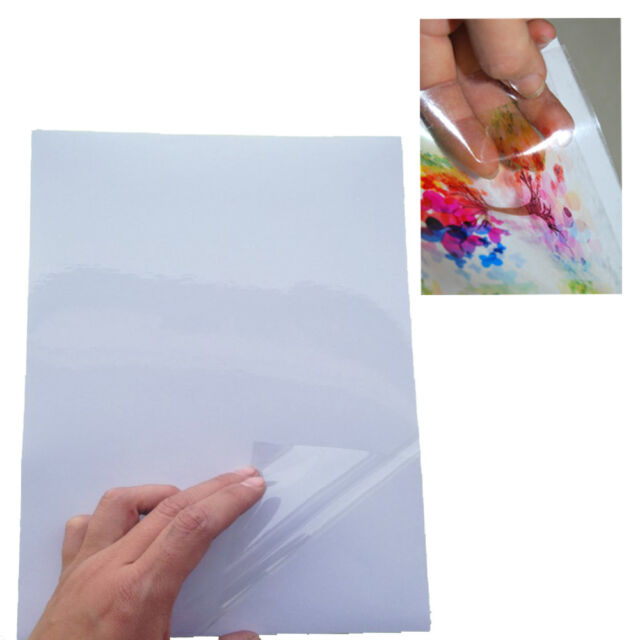 10x A4 Transparent Clear Glossy Inkjet Print Self Adhesive Sticker