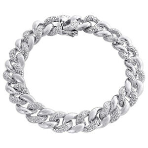 Image Is Loading Miami Cuban Diamond Bracelet Mens 925 Sterling Silver