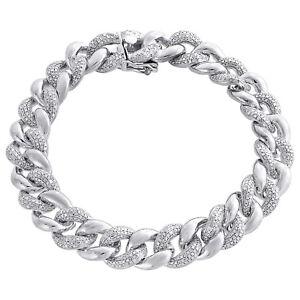 Miami Cuban Diamond Bracelet Mens 925 Sterling Silver 8 Pave Round