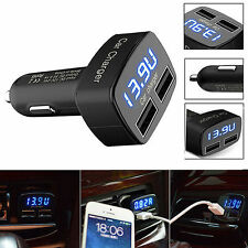 For iPhone Black USB 4 In 1 Dual Car Charger Adapter Voltage DC 5V 3.1A Tester