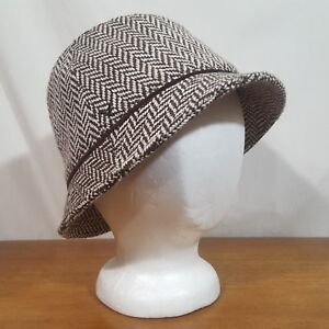 Image is loading American-Eagle-Black-White-Herringbone-Bucket-Hat-Cap- a947cf8d424