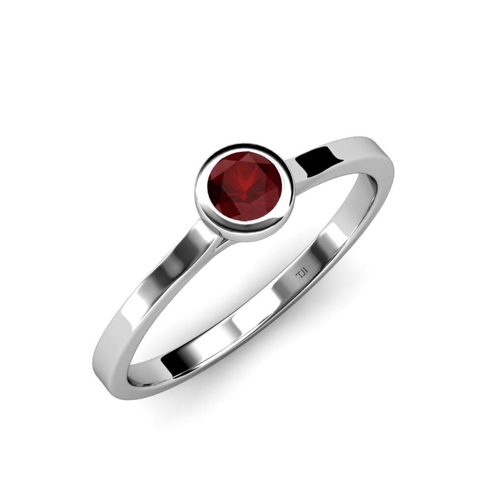 Floating Red Garnet Solitaire Engagement Ring 0.65 ct in 14K gold JP 26357
