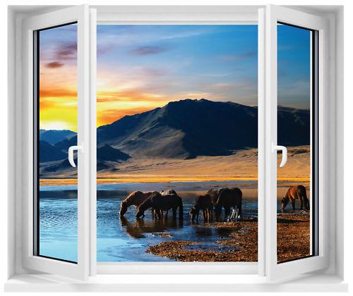 Sticker fenêtre trompe l/'oeil Chevaux réf 183