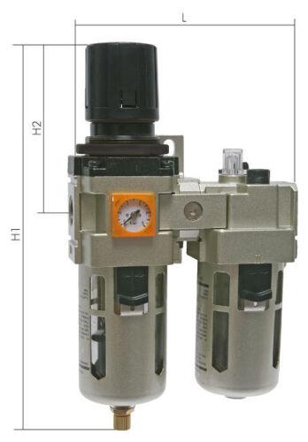 Eco Line mit halbautomatischer Entwässerung Druckluft Wartungseinheit 2tlg