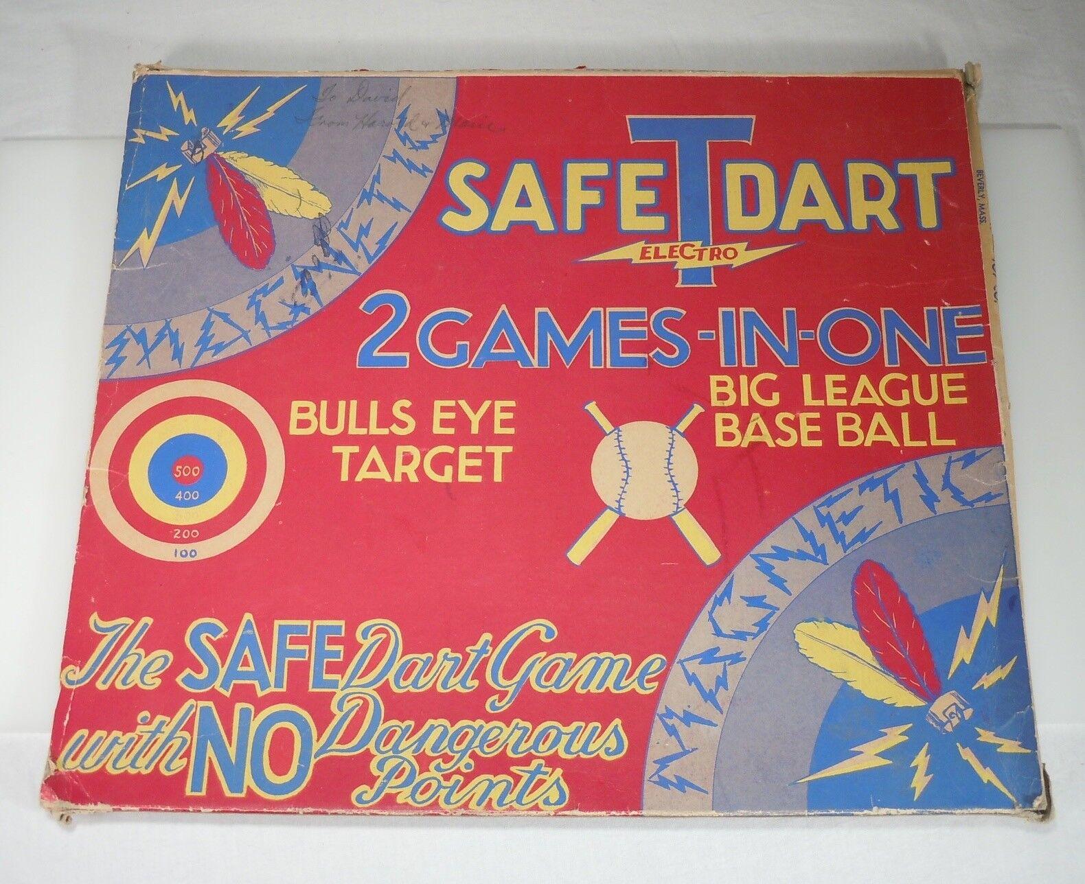 Safe T Electro Dart & Big League Baseball Baseball Game Tin Litho Board 54124