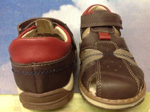 US Kid 11 12 29 Beeko Anthony Brown Leather Closed Toe Sandal Size 28
