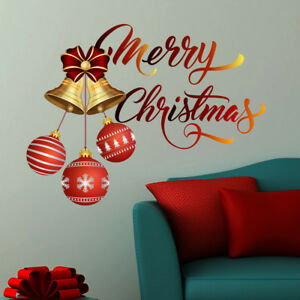 image is loading merry christmas wall decal ball vinyl sticker colored - Christmas Wall Decal