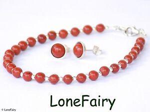 Solid-925-Sterling-Silver-Red-Jasper-Jewellery-Bracelet-Stud-Earrings-Gemstone