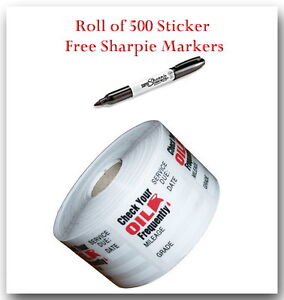 Details About 1 Roll Of 500 Non Personalized Oil Change Reminder Sticker Free Sharpie Marker