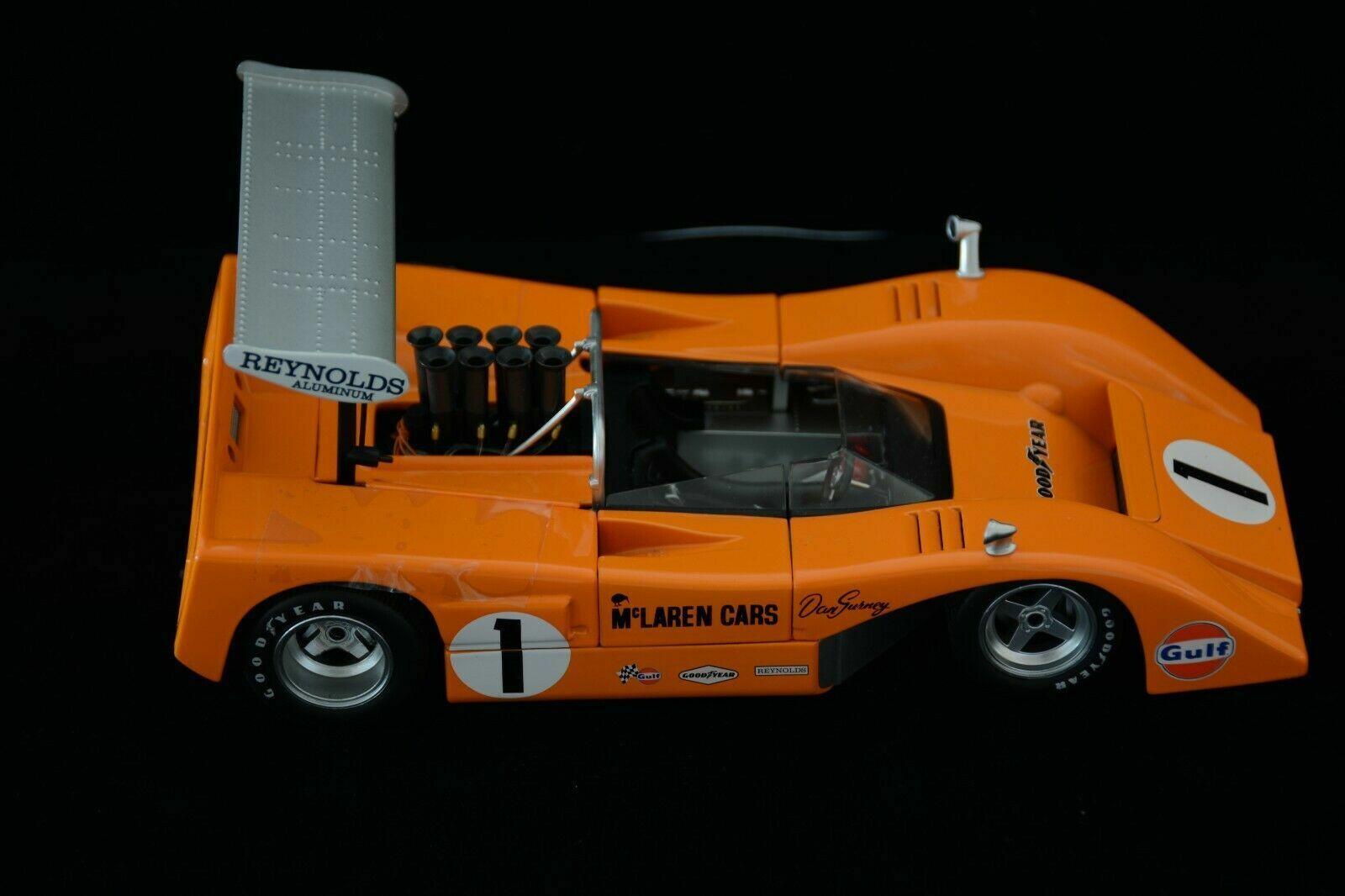 1 18 GMP 1969 Mclaren M 8 B Dan Gurney Voiture de course  1 aile haute Can Am Chevy V8