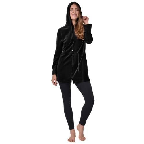 Donna Nicki Velour breve balneazione Cappotto Vestaglia con cappuccio Giacca Zipper Jacket