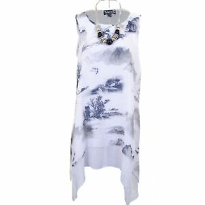 Scenery Lined White Ladies High Waterfall Long Plus Top Print Linen Low Tunic Size XwBH1OBq
