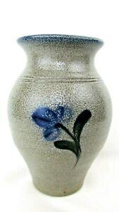 Rowe Pottery Salt Glaze Grey Blue Floral Vase Rustic Made in Wisc. EUC