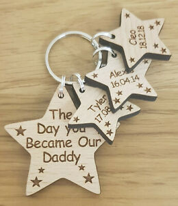 PERSONALISED GIFTS FOR HIM CHRISTMAS GIFT KEYRING DAY YOU BECAME MY DADDY DAD