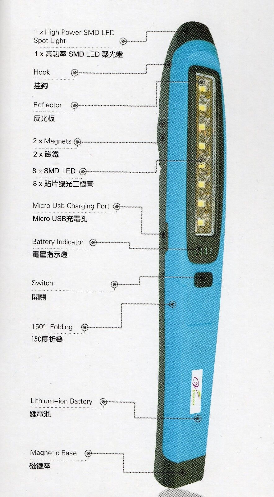 Ultra Bright LED LED Bright Mechanic Work Light Lithium-Ion Rechargeable w/ Snap-on Quality 35da1b