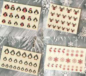 Christmas-Snow-Santa-Nail-Nails-Art-3D-Decal-Wraps-Stickers-Decals-Reindeer