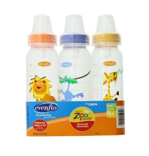 Evenflo Classic Zoo Friends Standard Bottles 8 Oz 3 ea