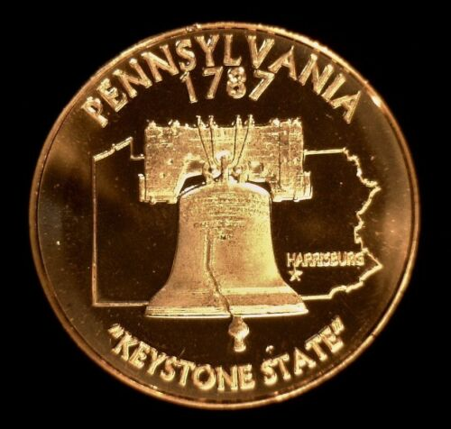 Pennsylvania Harrisburg #71 1 oz Copper Round Liberty Bell Keystone State
