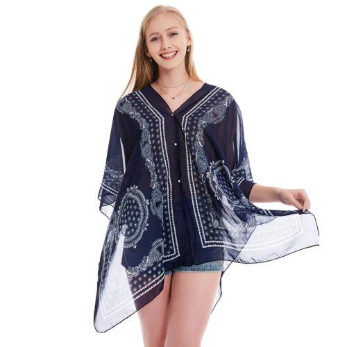 Nouveau Femmes Boho Imprimée En Mousseline de soie Wrap Poncho Châle Écharpe Cape Beach Cover Up a volé