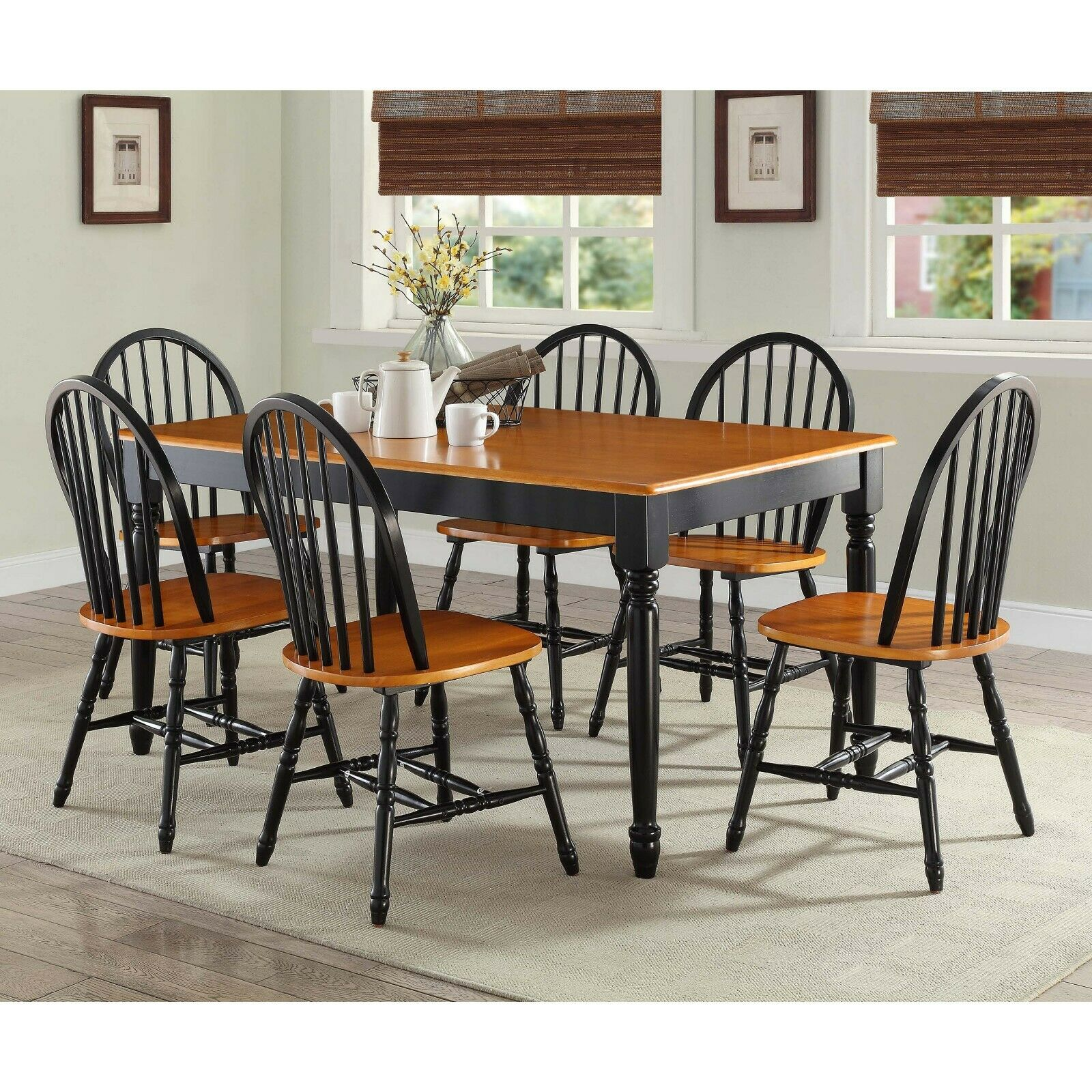 Image of: Dining Room Table Set Farmhouse Country Wood Kitchen Tables And Chairs 7 Piece For Sale Online