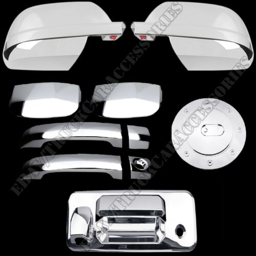 For 14~15 TOYOTA TUNDRA DOUBLE CHROME GAS DOOR HANDLE TAILGATE MIRROR COVERS
