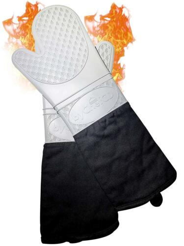 ByChefCD Extra Long Silicone Oven Mitts Gray