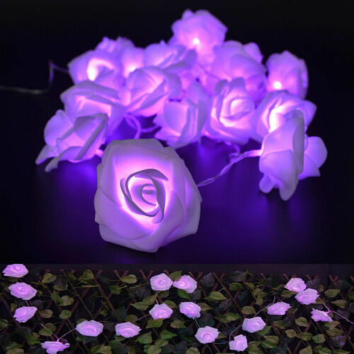 20 LEDs Rose Flower Fairy String Lights Battery Operated Wedding Party Decor aa