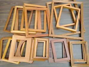 Vintage 19 Wood Oak PICTURE FRAME Lot Art Crafts Project Deco Gallery Wall Chic