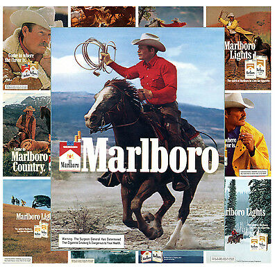 "Cowboy Marlboro Ads Vintage Adverts MP480 Mini Posters 13 posters 8/""x11/""//A4"