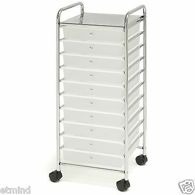 Chrome 10 Drawer Rolling Scrapbook Cart Storage Paper Organizer Clear Caster