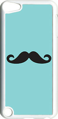 Plain White and Teal Green Mustache on iPod Touch 5th Gen 5G TPU Case Cover