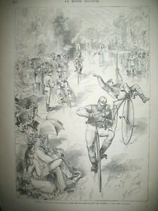 PARIS-TUILERIES-COURSE-VELOCIPEDE-GRANDES-MANOEUVRES-SAINT-CHINIAN-GRAVURES-1857