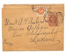 AC187 1897 GB *SHEPPERTON* Postal Stationery Switzerland {Samwells-Covers}PTS