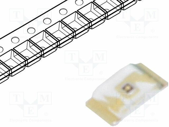 LED 2÷ 2,4V Yellow 130° 28÷ 180mcd 0603 1, 6x0, 8x0, 3mm SMD 20mA