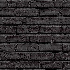 Noir-Papier-Peint-Brique-Arthouse-Vip-623007-Neuf-Decoration-Chambre-Enfant