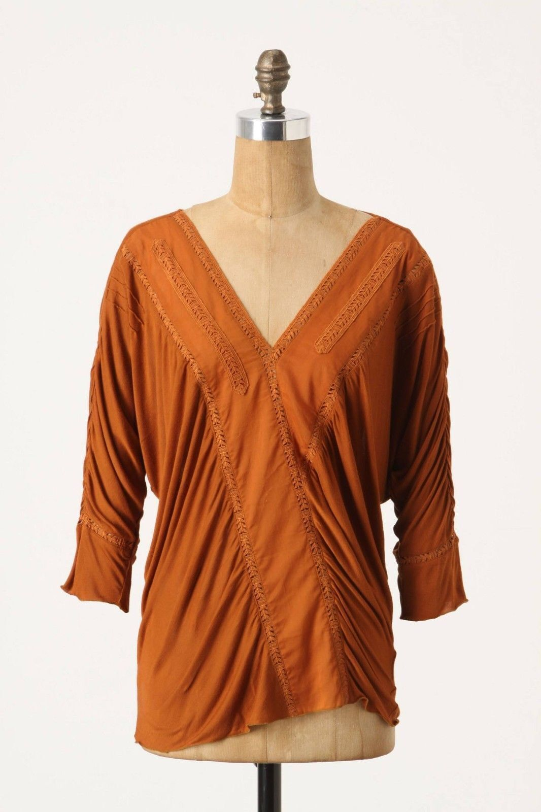NWOT ANTHROPOLOGIE PUMPKIN LEAFY CROSSING TEE TOP BLOUSE by TINY S