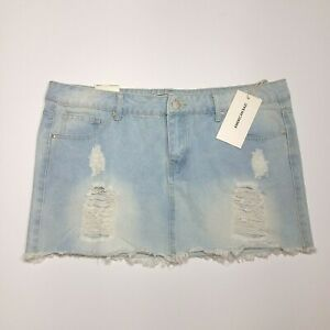 lower price with great deals get cheap Details about American Bazi Mini Jean Skirt Womens 2XL Plus Size Destroyed  Ripped Denim NEW