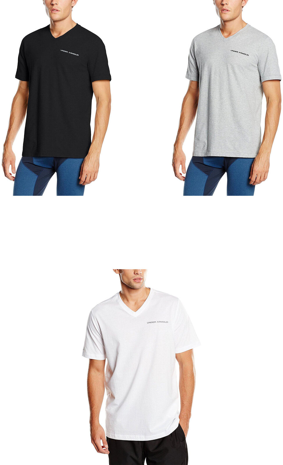 bbe9fafc Details about Under Armour Men's Charged Cotton V-Neck Shirt, 3 Colors