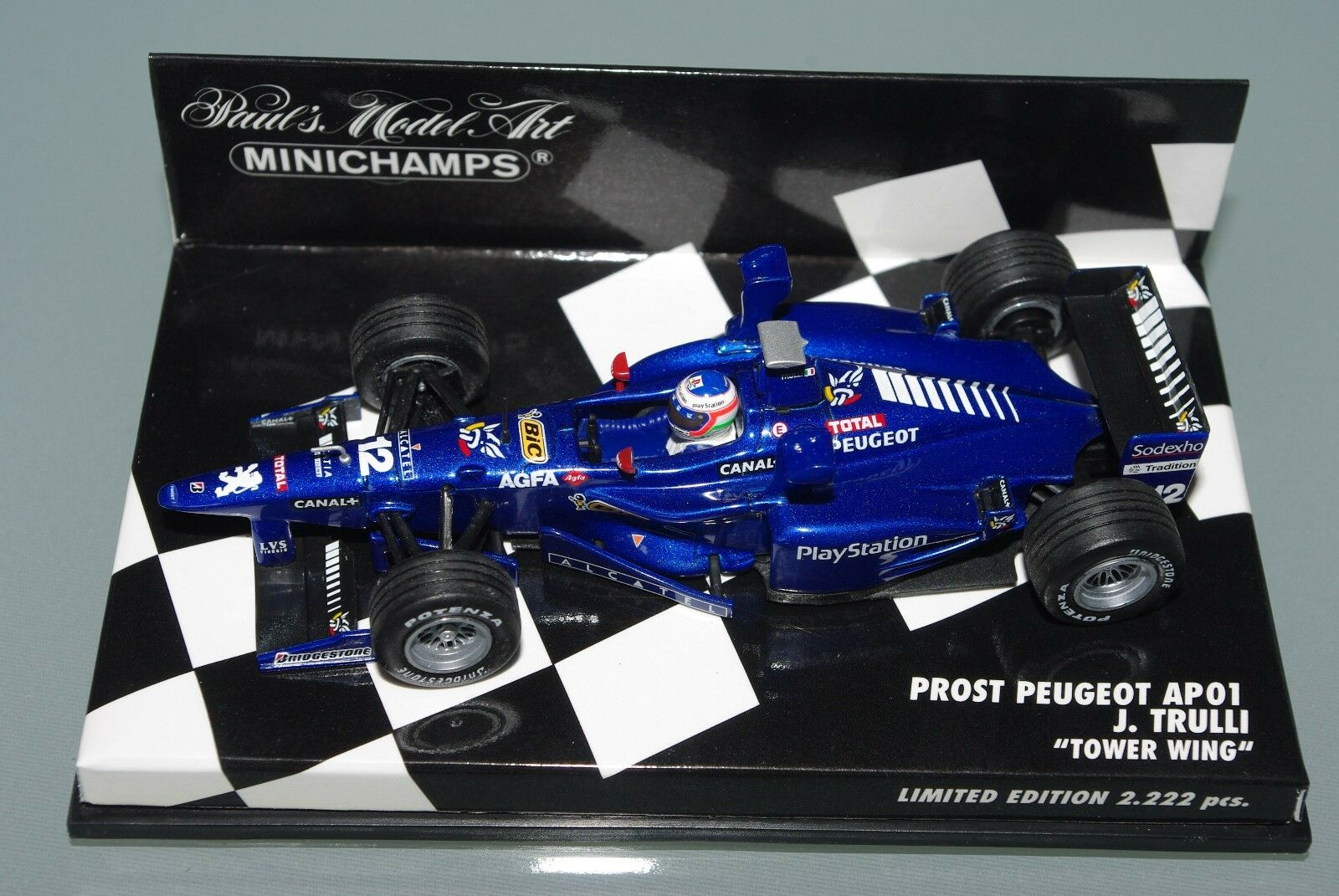 Minichamps F1 1 43 PROST PEUGEOT AP01 TOWER WINGS - JARNO TRULLI - L.E. 2222pcs