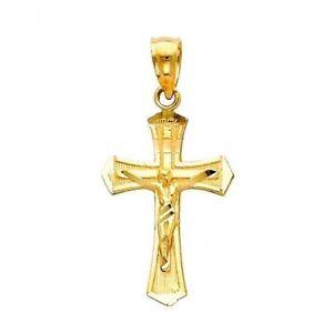 Jesus-Crucifix-Religious-Cross-Charm-Polish-14K-Solid-Yellow-Gold-Pendant-3-4-034