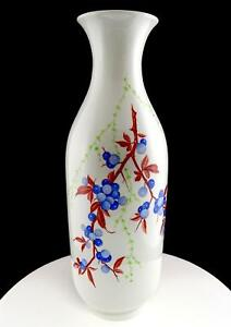 """GEBRUDER HEUBACH GERMANY BLUEBERRY BRANCH AND LEAVES LARGE 16 1/4"""" VASE"""