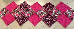 Patchwork-Quilt-Table-Runner-One-Patch-Frayed-Edges-Pink-Black-Hearts