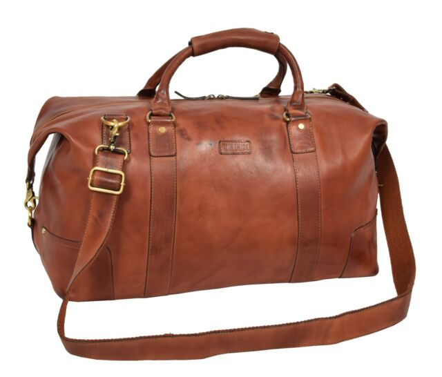 a4e2e5330 Classic Real Leather Large Organiser Holdall Tan Cross Body Gym Weekend Bag  NEW