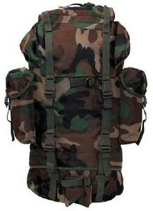 Sac à Dos Us 65 Ltr Army Outdoor Us Sac à Dos Woodland Camouflage Pack-afficher Le Titre D'origine