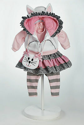 "Adora 20"" OUTFIT THE CAT'S MEOW Dolls Pink Gray White Polka Dot Bow NEW"